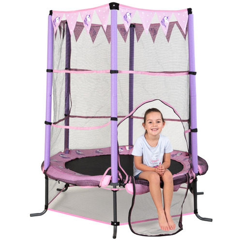 Action Sports 4.5ft Purple Unicorn Safety Trampoline