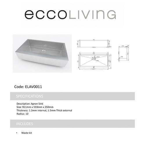 Ecco Living DIY Avesta Single Apron Sink Bowl