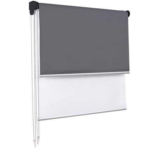 Charcoal Torquay Day & Night Roller Blind