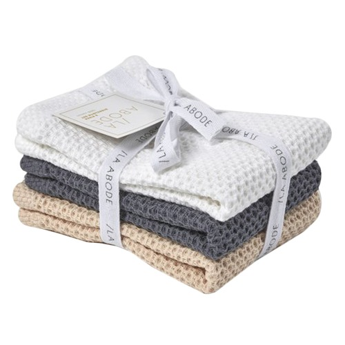 La Abode 3 Piece Combed Cotton Dish Cloth Set - Eco Friendly
