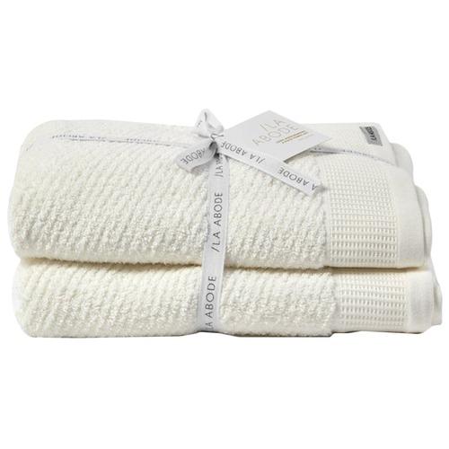La Abode Snow Luna 100% Cotton Herringbone Bath Towels