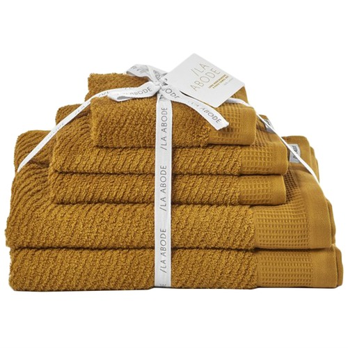 La Abode 5 Piece Turmeric Luna 100% Cotton Bathroom Towel Set