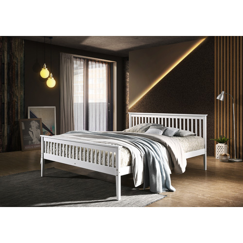 Nordic House White Emiko Pine Wood Bed Frame