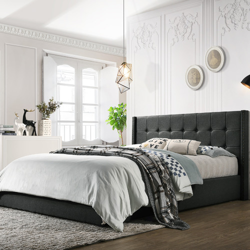 Nordic House Charcoal Moon Gas Lift Bed Frame