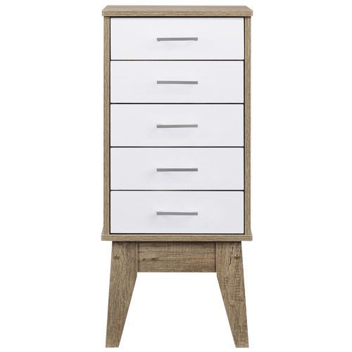 Nordic House Oak Scandi Wooden Chest of Drawers