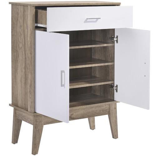Oak & White Scandi Shoe Cabinet