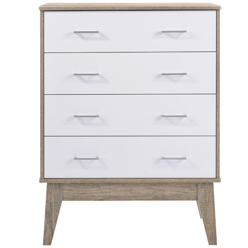 Nordic House Oak & White Scandi Chest of Drawers