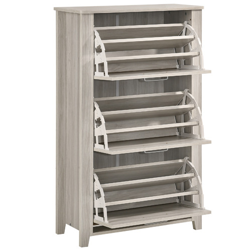 Nordic House White Wash Eve Wooden Shoe Cabinet