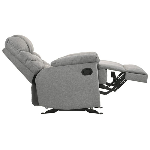 Nordic House Light Grey Fabby Fabric Recliner Armchair