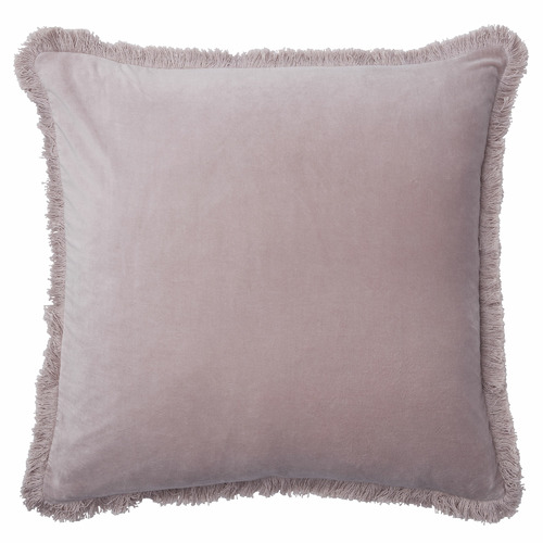 L & M Home Fringed Square Cotton Velvet Cushion
