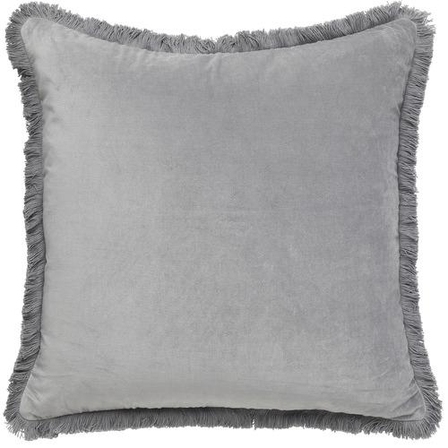 L & M Home Fringed Square Cotton Velvet Cushion
