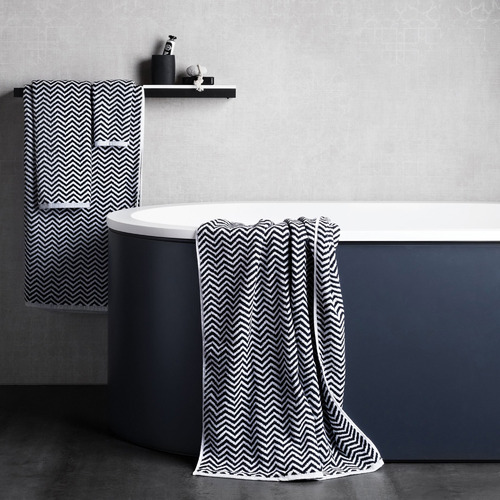 L & M Home Black & White Herringbone Cotton Bathroom Towel