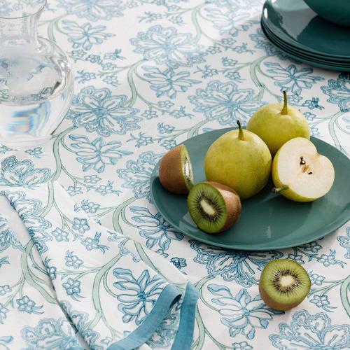 L & M Home Blue Arabella Cotton Tablecloth