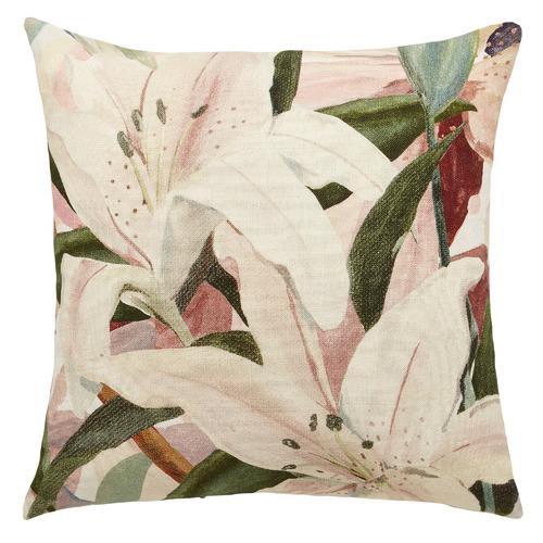 L & M Home Floral Lily Linen Cushion