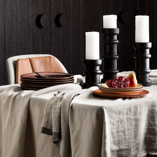 L & M Home Natural & Graphite Montalto Linen-Blend Tablecloth