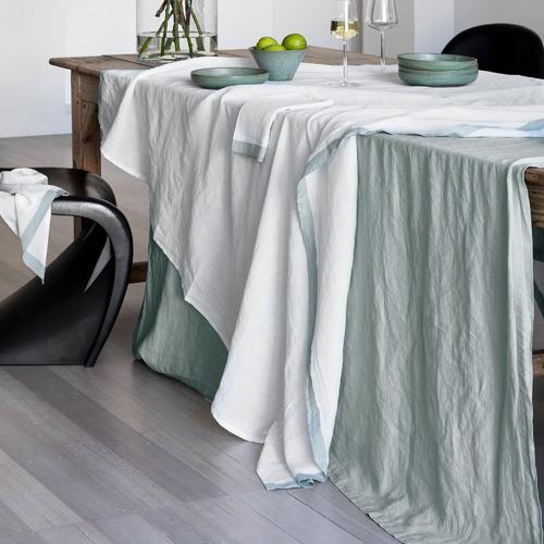 L & M Home White & Sea Mist Montalto Linen-Blend Tablecloth