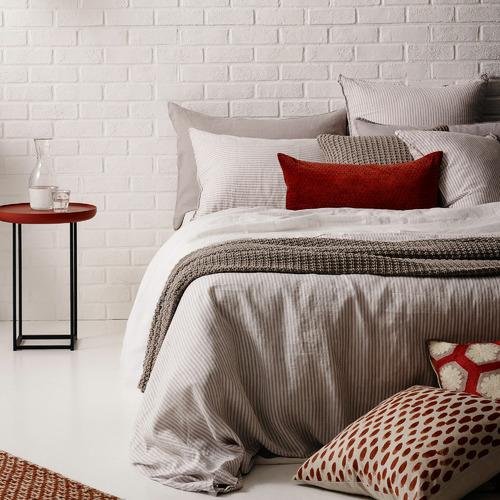 L & M Home Smoke Stripe Mondo French Linen Quilt Cover Set