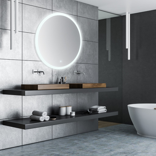 Silver Round Backlit Mirror With Demister