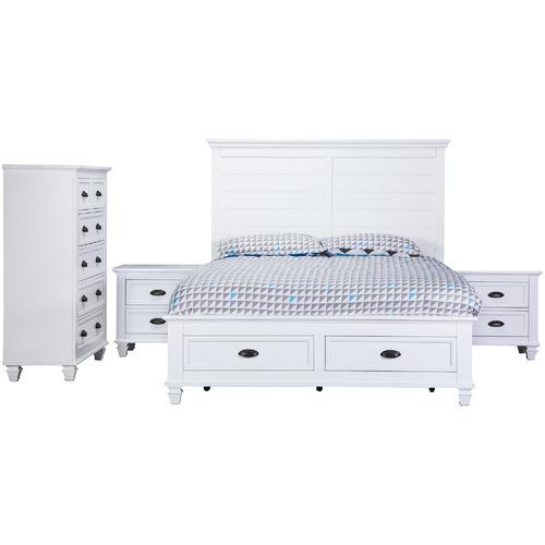 Farmington House White Barclay Timber Queen Bed Suite Set