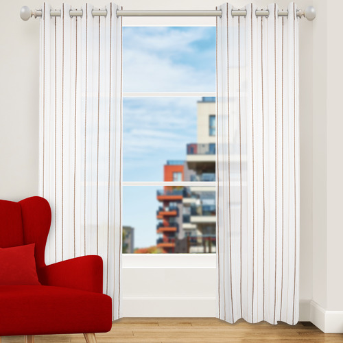 Nettex Latte Strand Single Panel Eyelet Curtain