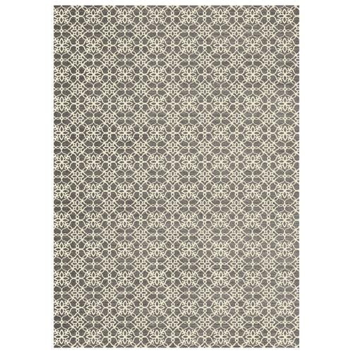 Grey & White Floral Rich Rug