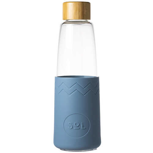 SolCups Blue Stone 850ml Glass Water Bottle