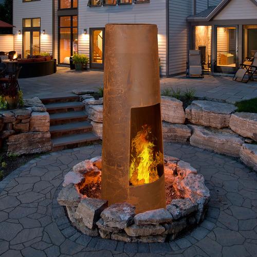 Rustic Round Steel Tardis Fire Pit
