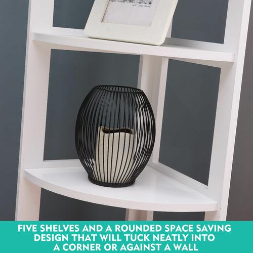 Levede White  Tim 5 Tier Corner Bookcase