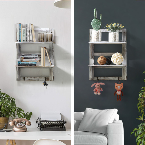 Levede Rustic Wooden Wall Shelf