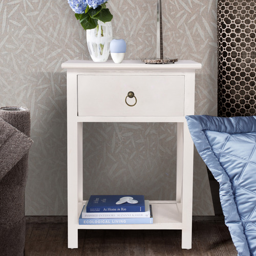 Levede White Joely Bedside Table