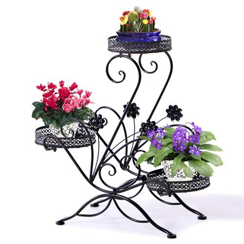 Black 3 Tier Wrought Iron Decor Flower Rack