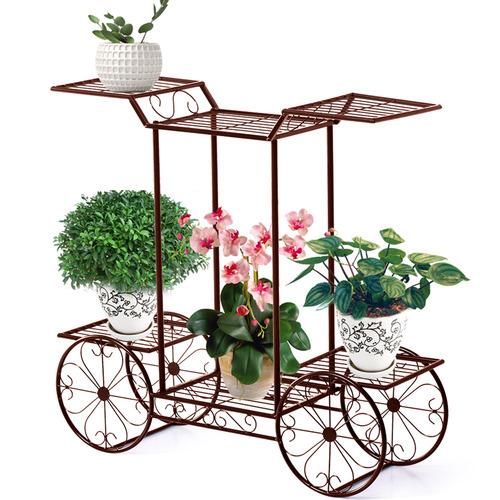 Levede 4 Wheeler Wrought Iron Plant Cart