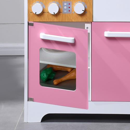 Levede Pink Kids' Wooden Kitchen Play Set