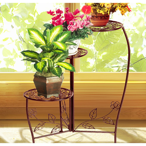 Levede Black Liyana 3 Tier Wrought Iron Plant Stand