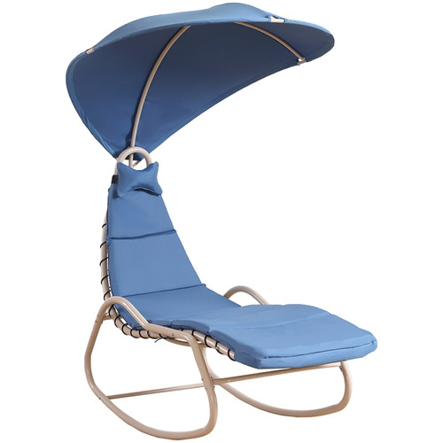 Levede Blue Rollie Outdoor Rocking Lounge Chair with Canopy