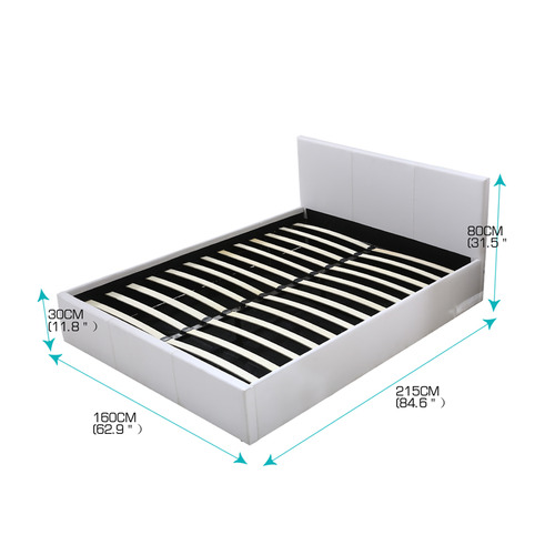 Levede White Gammond Gas Lift Queen Bed Frame
