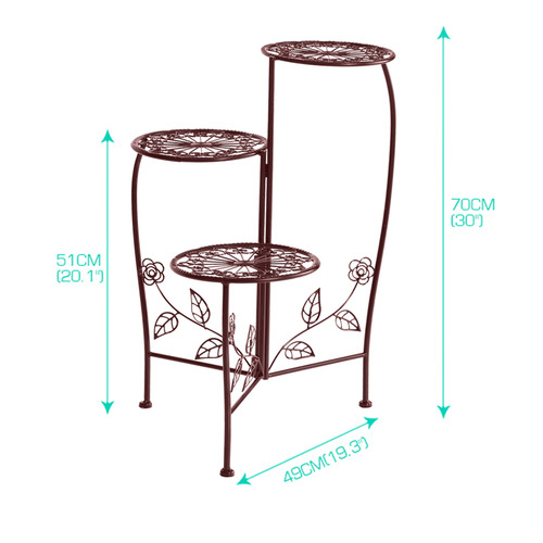 Levede Brown 3 Tier Steel Pot Plant Stand