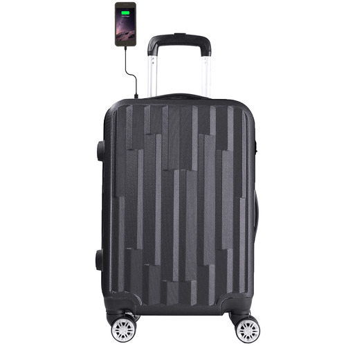 Lenoxx 50cm Hard Case Luggage with USB Port