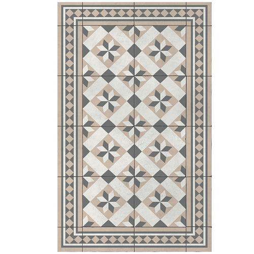 Beija Flor Cream Gothic Vinyl Floor Mat