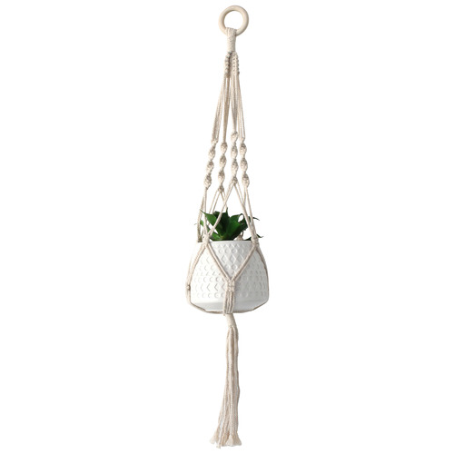 Maine & Crawford Xavier Cotton Hanging Pot with Faux Plant