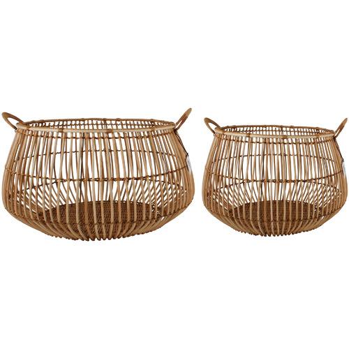 Maine & Crawford 2 Piece Aesha Rattan Bulb Basket Set