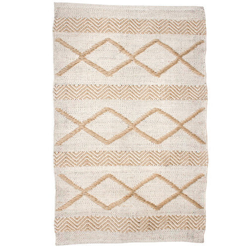 Maine & Crawford Diamond Stripe Diwali Hand-Knotted Cotton & Jute Rug