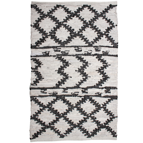 Maine & Crawford Aztec Moatsu Hand-Knotted Cotton & Leather Rug