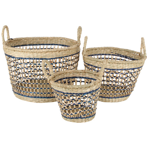 Maine & Crawford 3 Piece Yew Seagrass Basket Set
