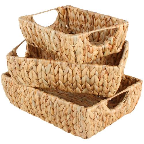 Maine & Crawford 3 Piece Walu Water Hyacinth & Metal Basket Set