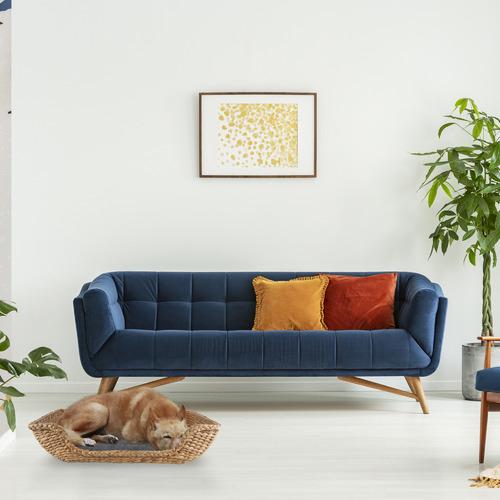3 Piece Rectangular Jazz Water Hyacinth Pet Bed Set