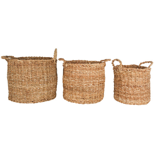 Maine & Crawford 3 Piece Round Yamba Seagrass Basket Set