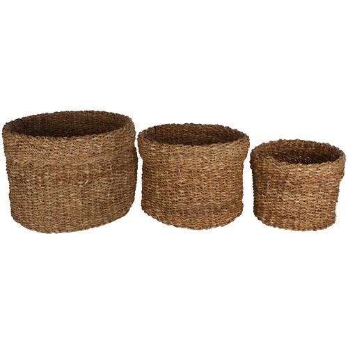 Maine & Crawford 3 Piece Round Bremer Seagrass Basket Set
