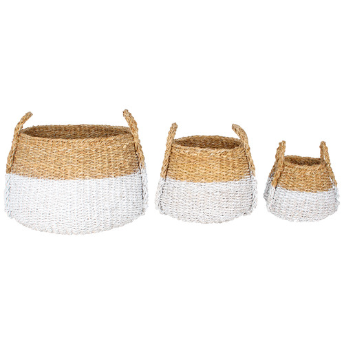 Maine & Crawford 3 Piece White Dipped Apollo Seagrass Basket Set