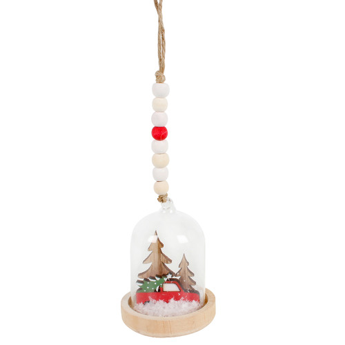Maine & Crawford 3 Piece Christmas Tree on Car Hanging Snow Globe Set